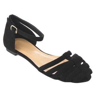 Beston Women's D'orsay Faux Suede Flat Dress Sandals