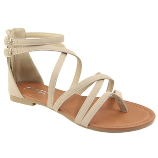 ANNA ID14 Women's Criss-Cross Strappy Back Zipper Flat Beach Sandal