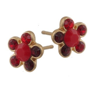Michal Negrin Gold Plated Red and Bordeaux Swarovski Crystals Stud Earrings
