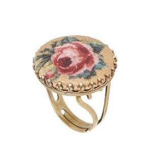 Michal Negrin Brass, Impressive Adjustable Round Ring, Vintage Roses Print