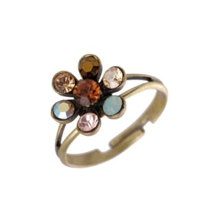 Michal Negrin Silver, Brown, Blue and Beige Adjustable Ring