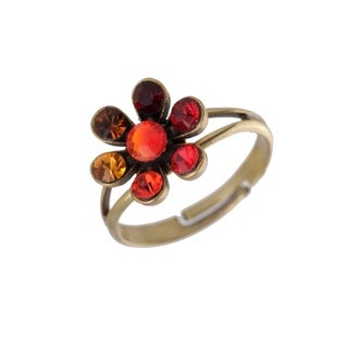 Michal Negrin Silver, Brown, Red and Orange Adjustable Ring