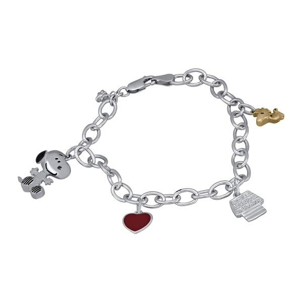 Peanuts Sterling Silver 1 10ct Tdw White Diamond Snoopy And Woodstock Charm Bracelet