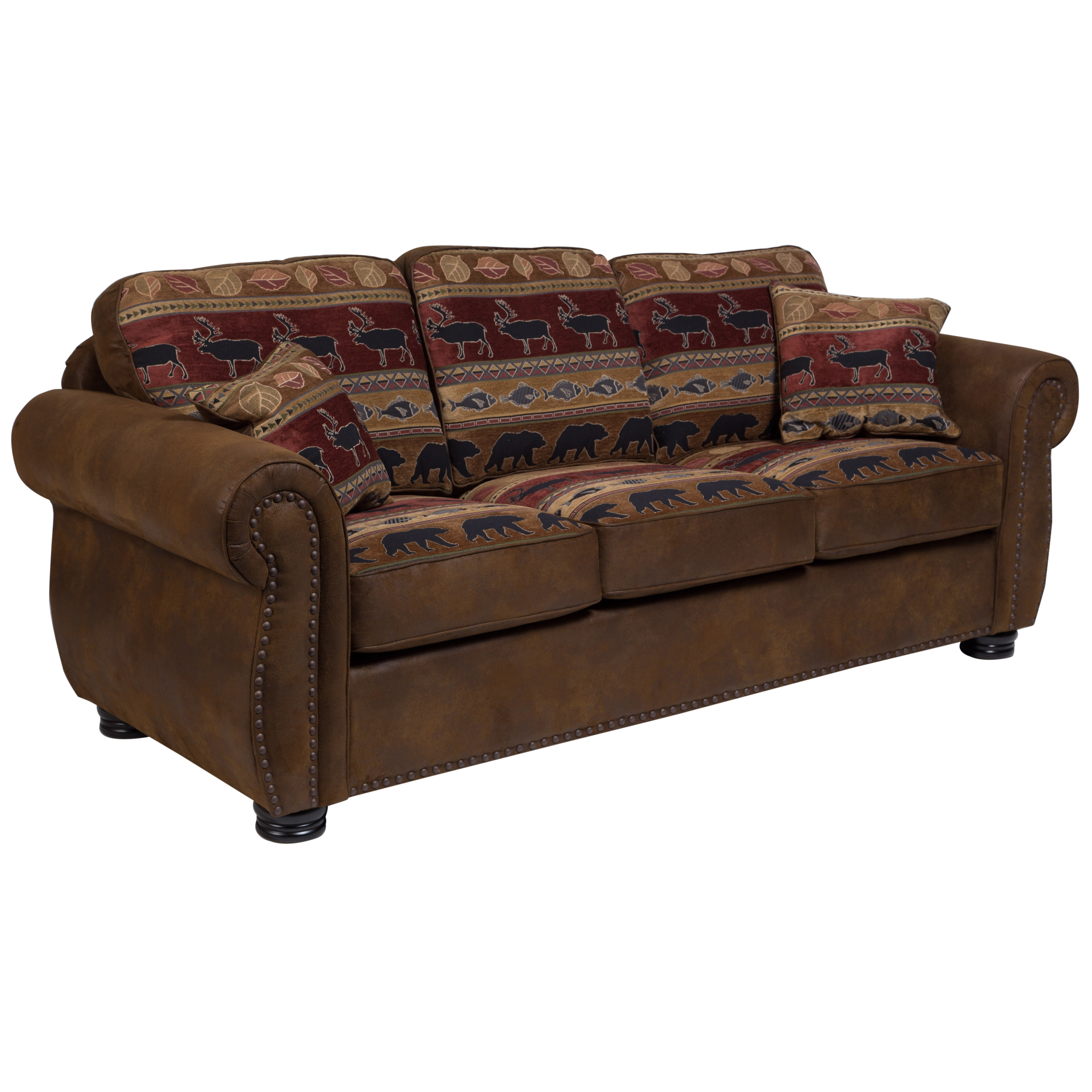 Porter Hunter Lodge Style Brown Sleeper Sofa with Deer, Bear and Fish  Fabric - 38\