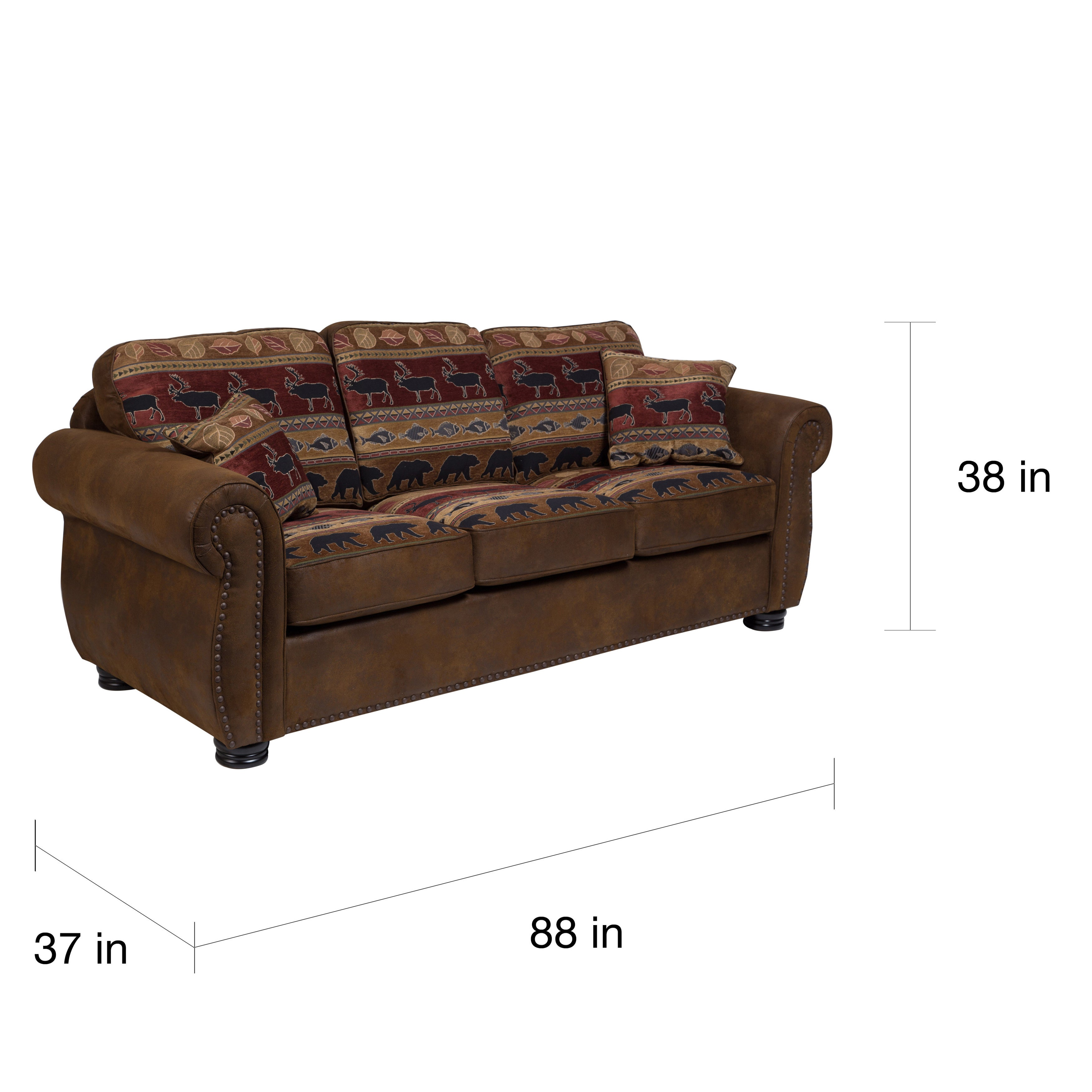 Porter Hunter Lodge Style Brown Sleeper Sofa With Deer Bear And Fish Fabric 38 H X 37 D 88 W