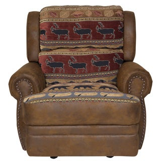 Porter Hunter Lodge Style Brown Accent Recliner Chair with Deer, Bear and Fish Woven Fabric