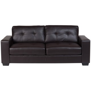 Porter Harper Brown Bonded Leather Modern Contemporary Tufted Sofa