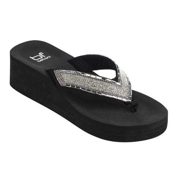 3c3bec8884144 Betani FH67 Women  x27 s Faux Leather Glitter Rhinestone Slip-on Platform  Wedge