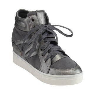 ANGELINA FG46 Women's Lace Up High-top Padded Collar Platform Sneakers