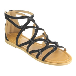 Betani FH61 Women's Faux-leather Glitter Gladiator Caged Flat Sandals with Metallic Decor