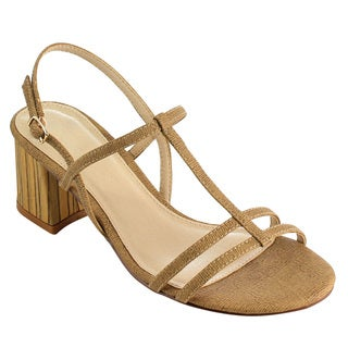 Beston FI02 Women's T-strap Chunky Block Heel Dress Sandals