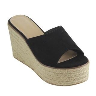 Beston FH73 Women's Slip-on Peep-toe Espadrille Faux-suede Platform Wedge Sandals