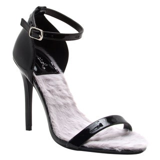 QUPID FG58 Women's Single Band Ankle Strap Stiletto Heel Dress Sandals