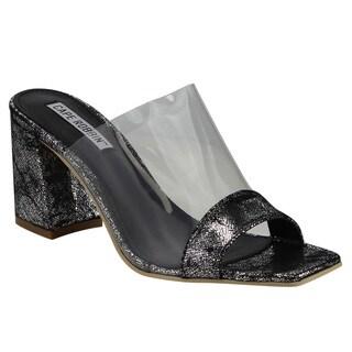 Cape Robbin Women's FG27 Clear Strap Slip On Block Heel Mule Sandals