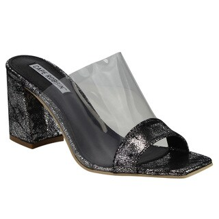 Cape Robbin Women's FG27 Clear Strap Slip On Block Heel Mule Sandals