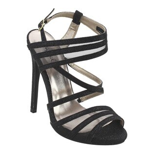 QUPID FG33 Women's Glitter Strappy Mesh Slingback Party Sandals Half Size Small