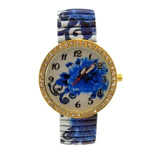 Vintage Blue Floral Stretch Band Watch Jumbo Crystal Dial
