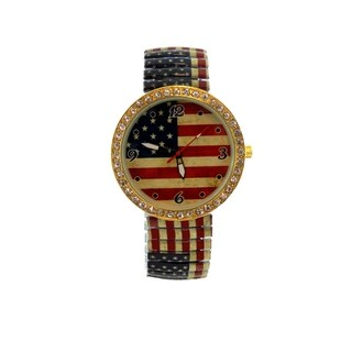 Vintage American Flag Stretch Band Watch Jumbo Crystal Dial