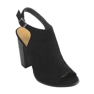 Betani Women's FH80 Faux-suede Peep-toe Ankle-strap Cut-out Back Bootie Sandals
