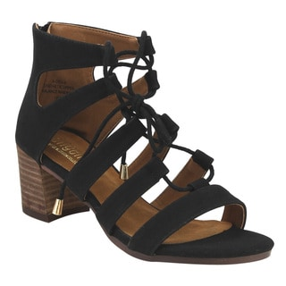 Angelina Women's FG41 Lace-up Gladiator Stacked Block Heel Sandals