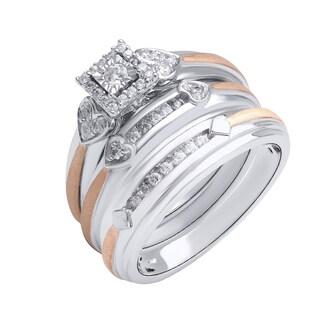 10K White and Rose Gold (1/3 ct. TDW) Unisex Diamond Engagement/Wedding Ring Set