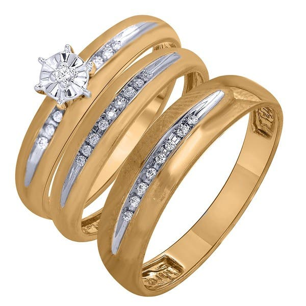 Shop 10k Yellow Gold Diamond Accent Men And Women S Engagement And Wedding Ring Set Overstock 14583081