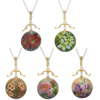 Michael Valitutti Palladium Silver Hand-Painted Mother-of-Pearl Flower Pendant (5 options available)