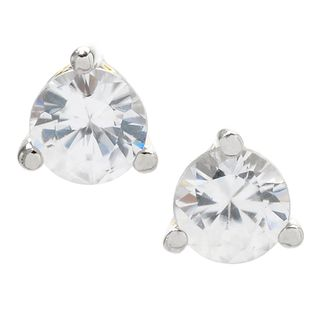 Michael Valitutti Palladium Silver Round White Zircon Stud Earrings