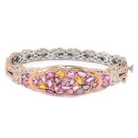 Michael Valitutti Palladium Silver Multi Color Pastel Sapphire Bangle Bracelet