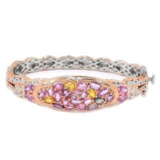 Michael Valitutti Palladium Silver Multi Color Pastel Sapphire Bangle Bracelet (2 options available)