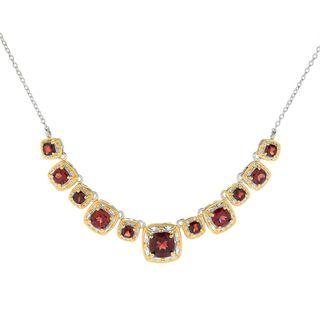 Michael Valitutti Palladium Silver Cushion Cut Mozambique Garnet 11-Stone Necklace