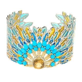Michael Valitutti Palladium Silver American Story Citrine & Sleeping Beauty Turquoise Peacock Cuff Bracelet