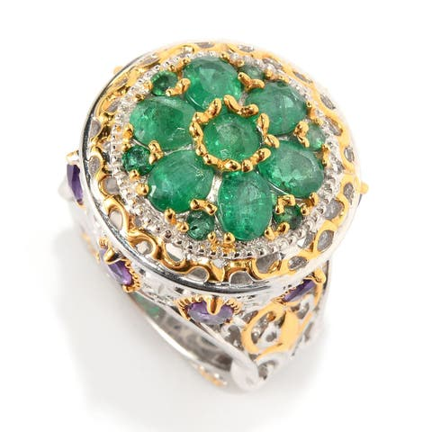 Michael Valitutti Palladium Silver Emerald & African Amethyst Scrollwork Dome Ring