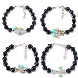 Michael Valitutti Palladium Silver Beaded Black Onyx & Sleeping Beauty Turquoise Icon Bracelet|https://ak1.ostkcdn.com/images/products/14584333/P21130820.jpg?impolicy=medium