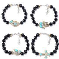 Michael Valitutti Palladium Silver Beaded Black Onyx & Sleeping Beauty Turquoise Icon Bracelet