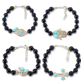 Michael Valitutti Palladium Silver Beaded Black Onyx & Sleeping Beauty Turquoise Icon Bracelet