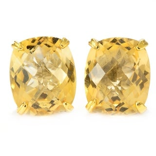 Michael Valitutti Palladium Silver Cushion Shaped Brazilian Canary Citrine Stud Earrings