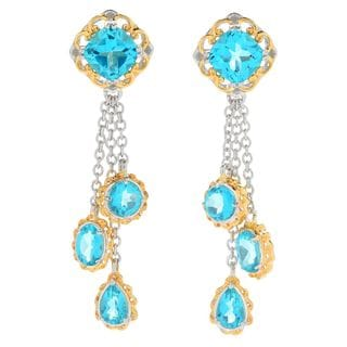 Michael Valitutti Palladium Silver Paraiba Color Topaz Tiered Dangle Earrings