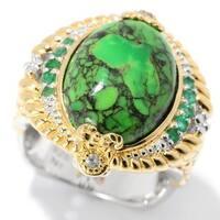 Michael Valitutti Palladium Silver Green Mohave Turquoise & Multi Gem Ring