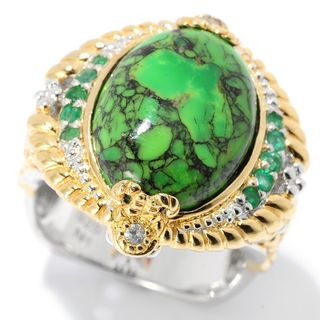 Michael Valitutti Palladium Silver Green Mohave Turquoise & Multi Gem Ring