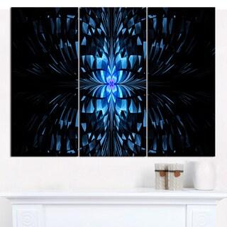 "Designart 'Blue Butterfly Pattern on Black' Triptych Canvas Art Print - 3 Panels 36""x28"""