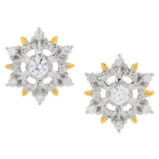 Michael Valitutti Palladium Silver White Zircon Snowflake Stud Earrings