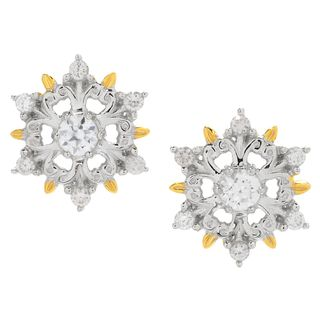 Michael Valitutti Palladium Silver White Zircon Snowflake Stud Earrings