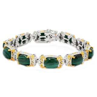 Michael Valitutti Palladium Silver Cushion Malachite Tennish Bracelet|https://ak1.ostkcdn.com/images/products/14584354/P21130830.jpg?impolicy=medium