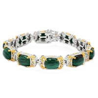 Michael Valitutti Palladium Silver Cushion Malachite Tennish Bracelet