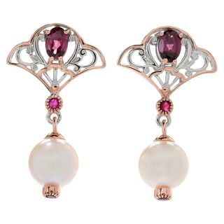 Michael Valitutti Palladium Silver Asia Japanese Akoya Cultured Pearl & Multi Gemstone Dangle Earrings