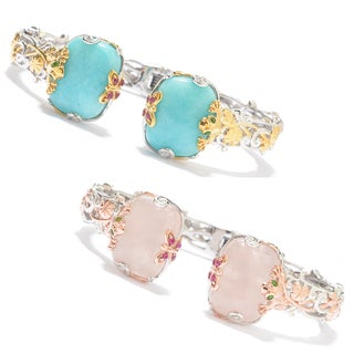 Michael Valitutti Palladium Silver Amazonite/Rose Quartz Multi Gemstone Kissing Cuff Frog Bracelet