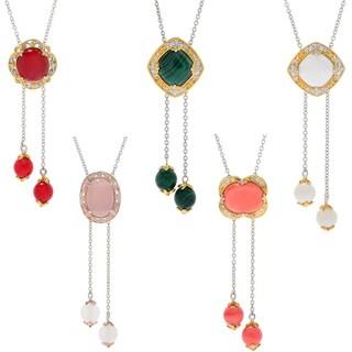 Michael Valitutti Palladium Silver Gemstone Bead Detailed Adjustable Bolo Necklace