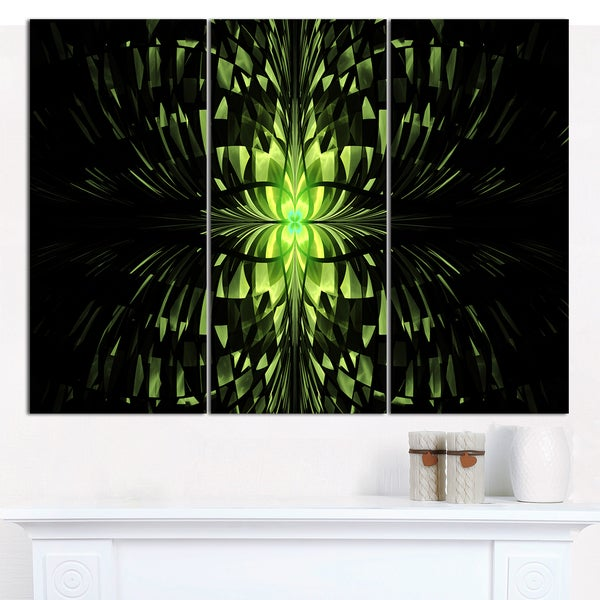 "Designart 'Green Butterfly Pattern on Black' Triptych Canvas Art Print - 3 Panels 36""x28"""