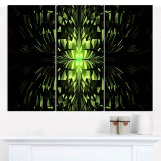"Designart 'Green Butterfly Pattern on Black' Triptych Canvas Art Print - 3 Panels 36""x28"""